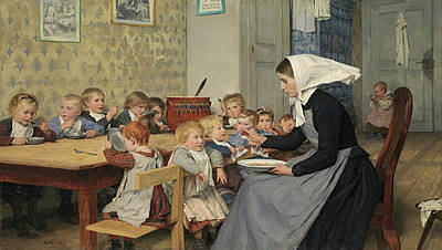 Meal Painting - The Nursery  by Albert Anker