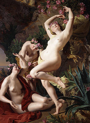 Lesbian Painting - The Nymphs In Homer's Odyssey by Ferdinand Georg Waldmuller