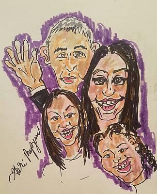 Obama Family Drawing - The Obama Family Farwell Tour  by Geraldine Myszenski