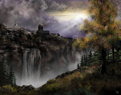 Landscape-like Art Painting - The Observatory On The Mountain by Ron Grafe