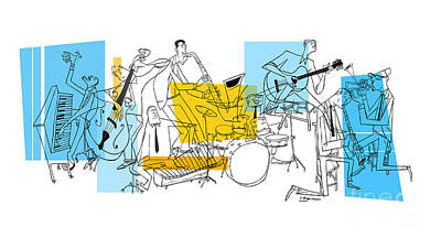 Jazz Digital Art - The Octet by Sean Hagan