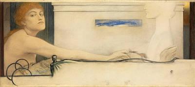 Fernand Khnopff Drawing - The Offering by Fernand Khnopff
