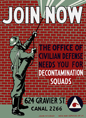 The Office Of Civilian Defense Needs You - Wpa Print by War Is Hell Store