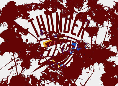 Oklahoma City Thunder Mixed Media - The Oklahoma City Thunder 1a by Brian Reaves