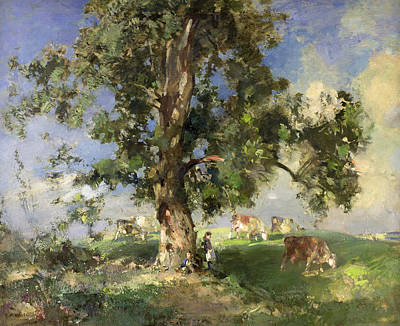 Cow Boy Painting - The Old Ash Tree by Edward Arthur Walton