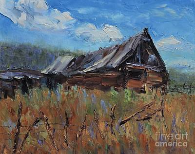 Pallet Knife Painting - The Old Barn by Linda Mooney