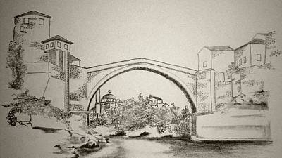 The Old Bridge In Mostar Print by Ramo Sabanovic