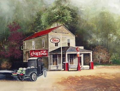 Gas Station Painting - The Old Esso Station by Charles Roy Smith