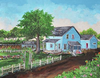 Garden Scene Painting - The Old Farmhouse by Reb Frost
