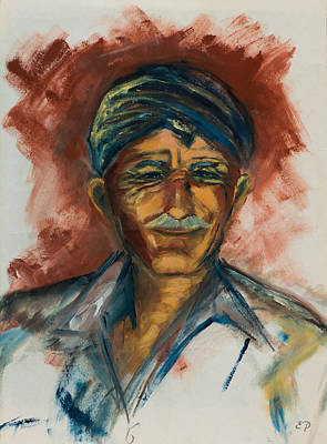 Mustache Painting - The Old Greek Man by Elise Palmigiani