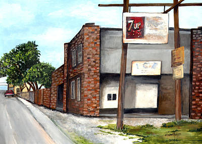 Seven Up Sign Painting - The Old Ice House by Elaine Hodges