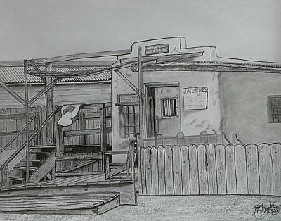 Ghost Towns Drawing - The Old  Jail  by Tony Clark