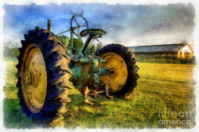 Tracktor Painting - The Old John Deere Tractor by Edward Fielding