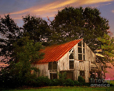 The Old Lowdermilk Barn - Red Roof Barn Rustic Country Rural Antique Print by Jon Holiday