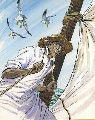 The Old Man And The Sea. Novel Illustration Original by Igor Sakurov