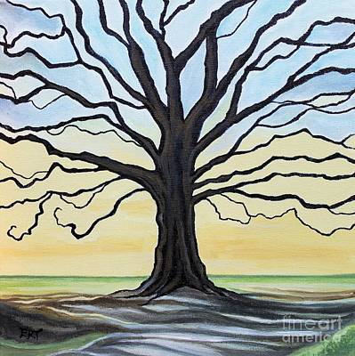 The Stained Old Oak Tree Print by Elizabeth Robinette Tyndall