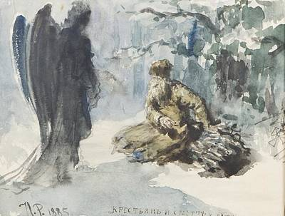 The Old Peasant And Death Print by Efimovich Repin