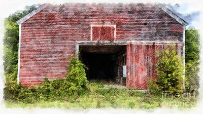 University Of Arizona Digital Art - The Old Red Barn At Nutt Farm Etna Nh by Edward Fielding