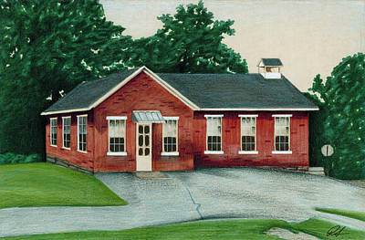 Schoolhouse Mixed Media - The Old Red Schoolhouse by Robert Slee