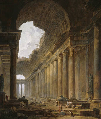 The Old Temple Print by Hubert Robert