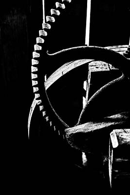 The Old Wheel In Black And White Print by Toppart Sweden