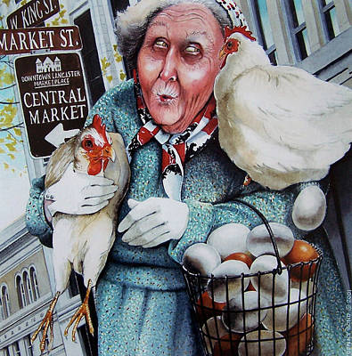Mother Goose Painting - The Old Woman And The Peddlar by Denny Bond