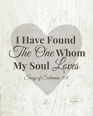 The One Whom My Sould Loves- Art By Linda Woods Print by Linda Woods