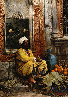 Amphora Painting - The Orange Seller by Ludwig Deutsch