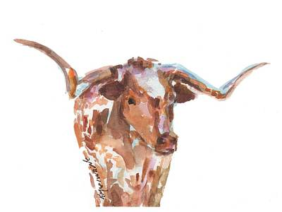 The Original Longhorn Standing Earth Quack Watercolor Painting By Kmcelwaine Print by Kathleen McElwaine