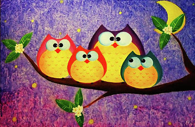 Crafts For Kids Painting - The Owl Family In The Midnight by Busra Siripone