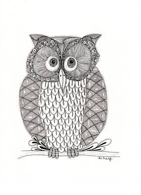 Doodle Drawing - The Owl's Who by Paula Dickerhoff