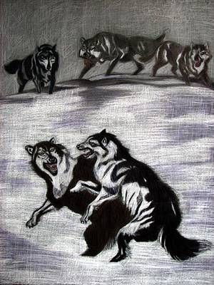 Paper Images Drawing - The Pack by Melita Safran
