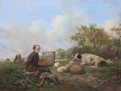 Painting - The Painter Himself Painting In A Meadow Landscape With Cattle by Hendrik van de Sande Bakhuyzen