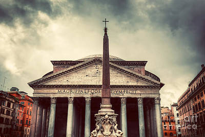 Ancient Photograph - The Pantheon In Rome Italy by Michal Bednarek