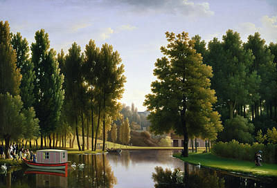Tranquil Painting - The Park At Mortefontaine by Jean Bidauld