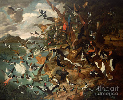Flock Of Bird Painting - The Parliament Of Birds by Carl Wilhelm de Hamilton