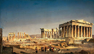 Ippolito Caffi Painting - The Parthenon by Ippolito Caffi
