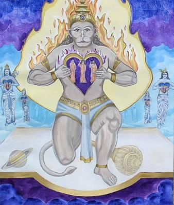 Baba Painting - The Passion Of Hanuman by Sonya Ki Tomlinson