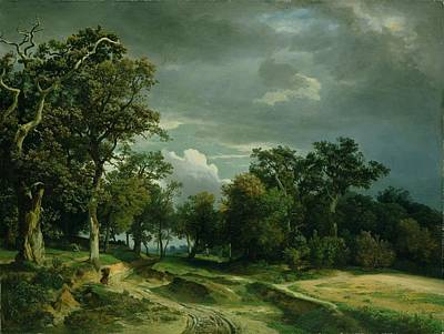 Edge Painting - The Path On The Edge Of The Wood by Johann Wilhelm Schirmer