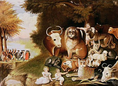 Tigers Print featuring the painting The Peaceable Kingdom by Edward Hicks