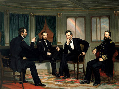 Abraham Lincoln Painting - The Peacemakers by George Peter Alexander Healy