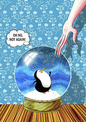 Penguin Drawing - The Penguin Who Didn't Like Snow  by Andrew Hitchen