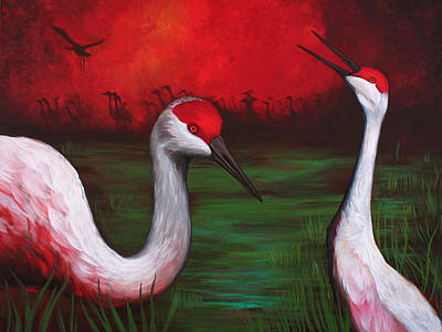 Sandhill Crane Painting - The People by Bonnie Kelso
