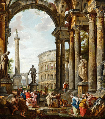 Giovanni Paolo Panini Painting - The Philosopher Diogenes Throwing Down His Bowl by Giovanni Paolo Panini
