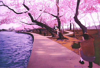 Tidal Basin Painting - The Photgrapher And His Model  by David Zimmerman