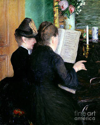 Woman Playing Piano Painting - The Piano Lesson by Gustave Caillebotte