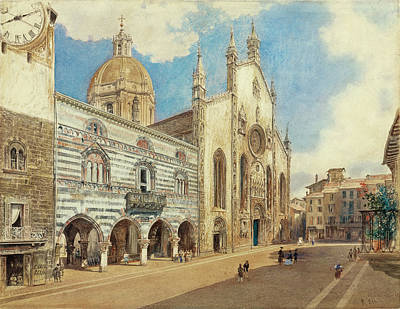 Piazza Drawing - The Piazza Del Duomo In Como by Rudolf von Alt