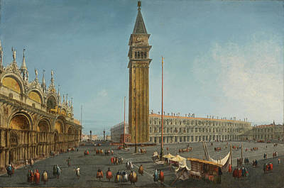 Michele Marieschi Painting - The Piazza San Marco Venice From The Torre Dell'orologio by Michele Marieschi