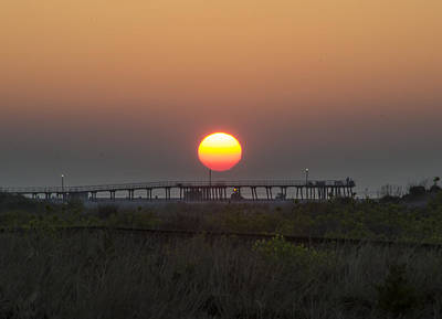 Seascape Photograph - The Pier At Wildwood Crest At Sunrise by Bill Cannon