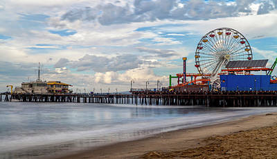 Rollercoaster Photograph - The Pier On A Cloudy Day by Gene Parks